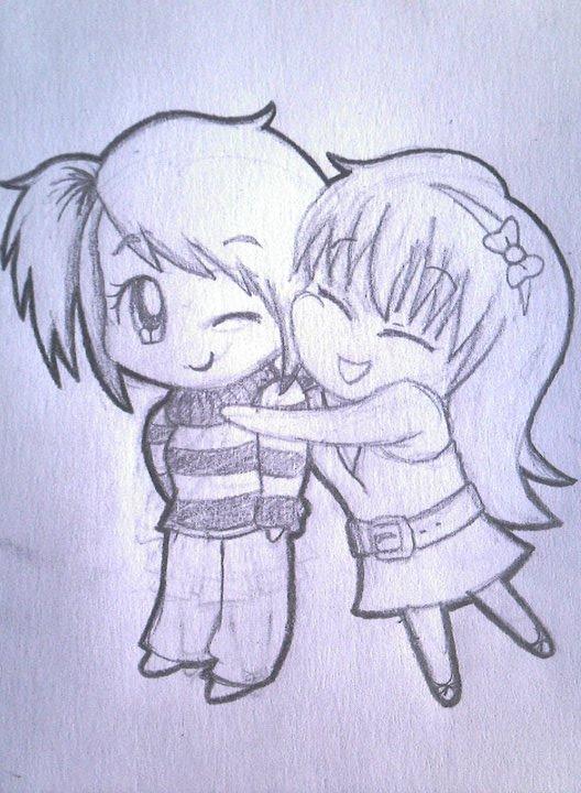 Chibis hugging - photo#7
