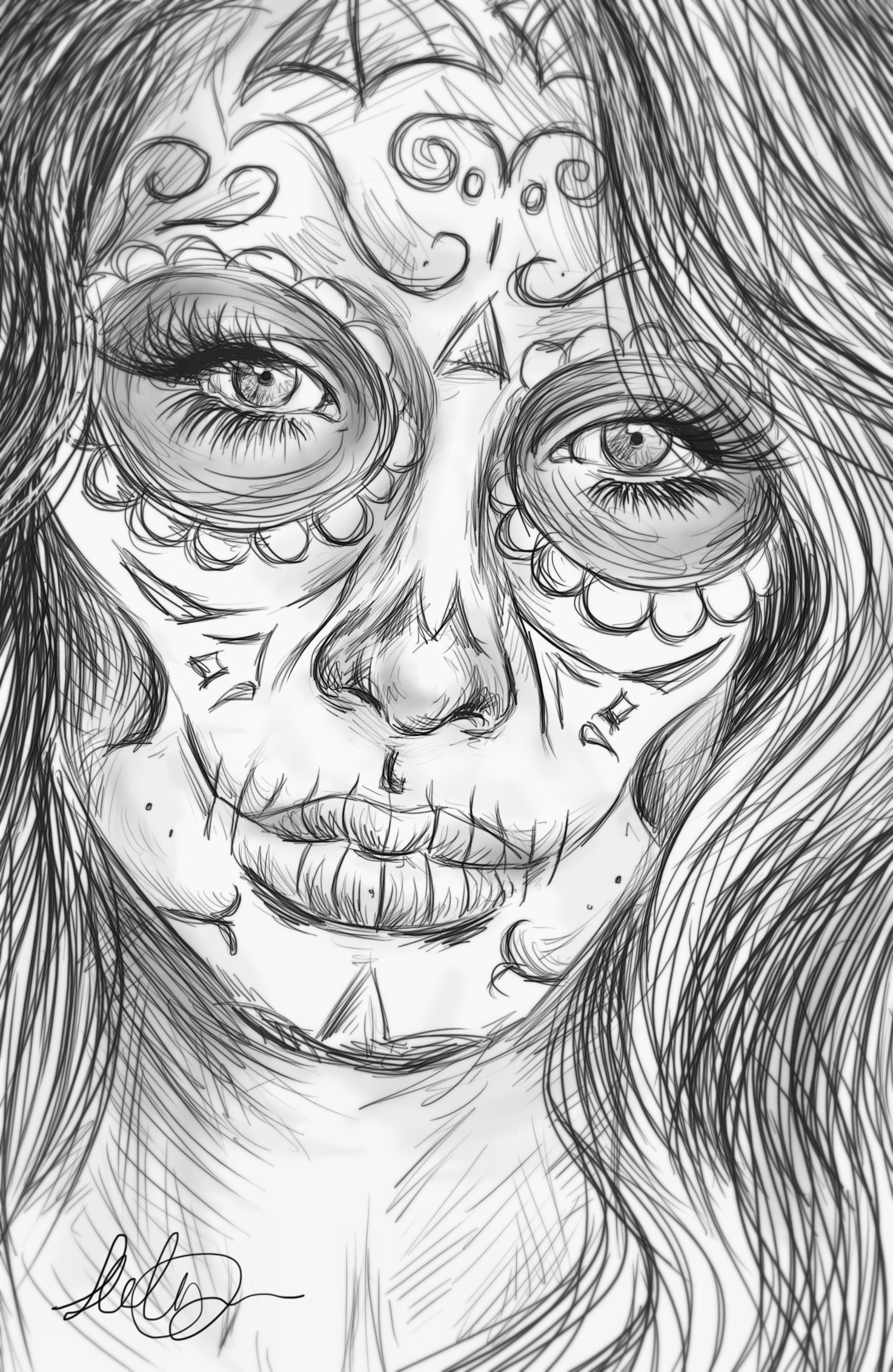 Beautiful Sugar Skulls Drawings Realistic sugar skull ...