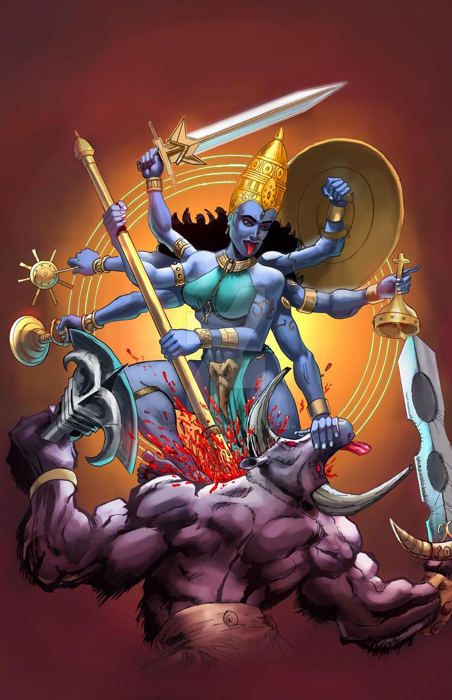 Durga battling Raktabija by Gotzendammerung