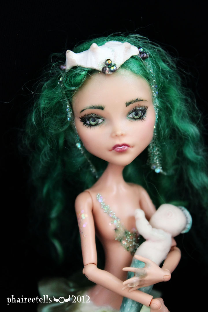 MH monster high repaint 14 CLEO mermaid portrait by phairee004