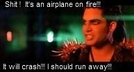 it's an airplane on fire... by gardenofblueroses
