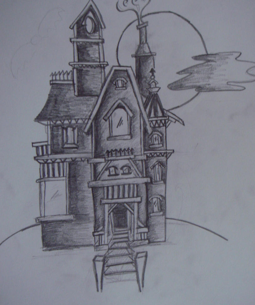 Haunted house by hidden mountain on deviantart for Easy haunted house to draw
