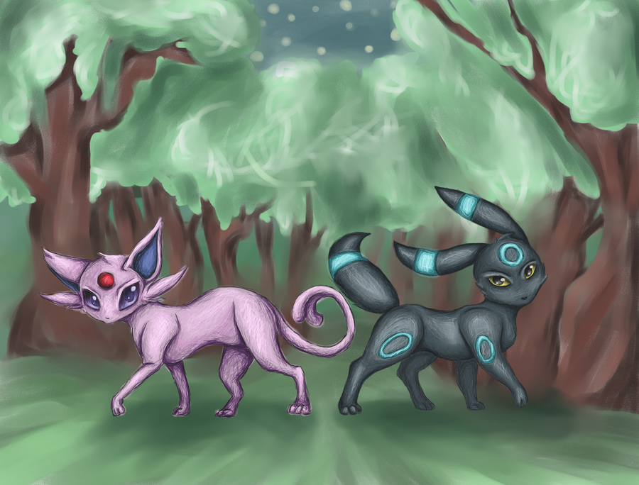 Espeon x Umbreon by Miri33