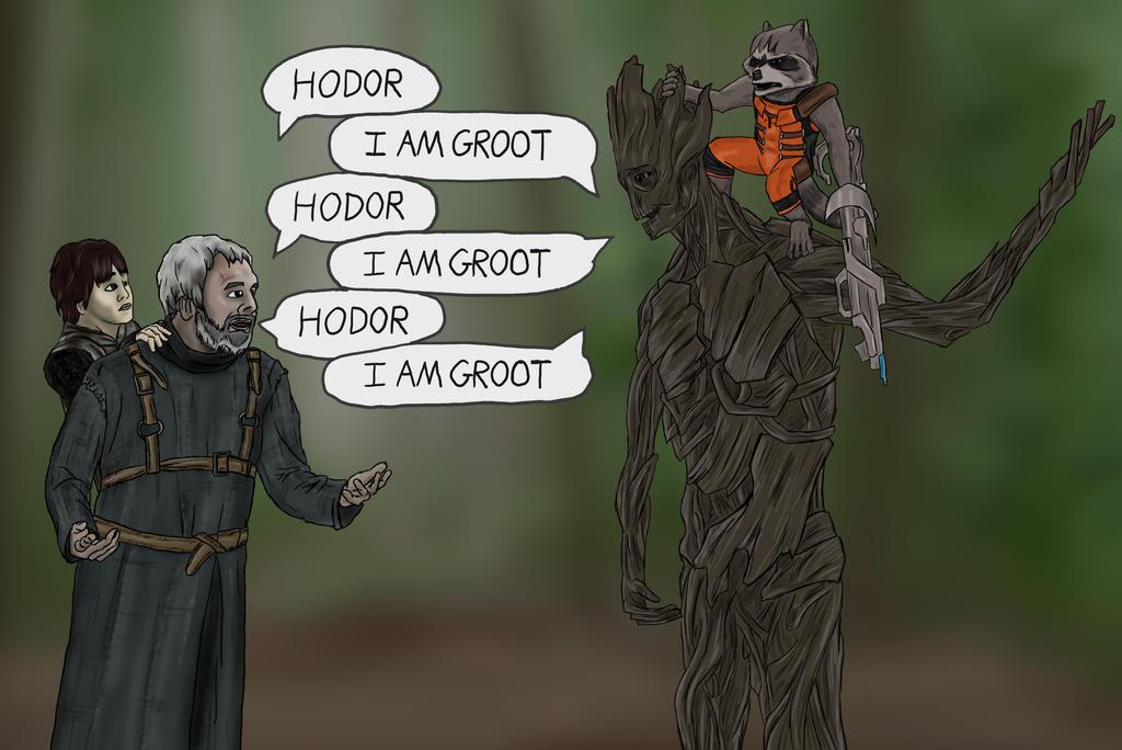 Hodor Meets Groot by Anamatroy