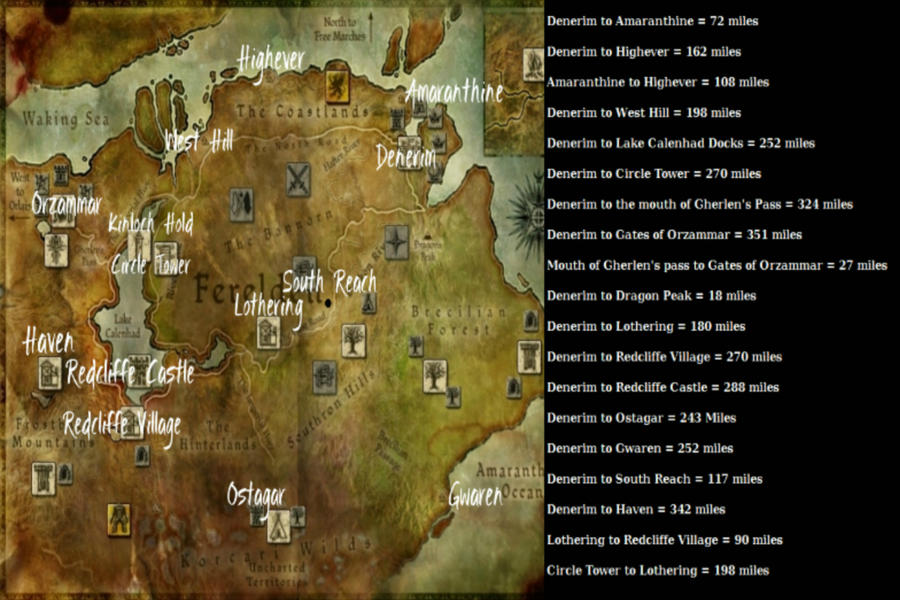 Map of ferelden with distance chart by raven jadewolfe on deviantart map of ferelden with distance chart by raven jadewolfe gumiabroncs Gallery