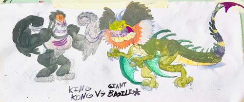 King Kong VS GIANT BASILISK by masonthetrex