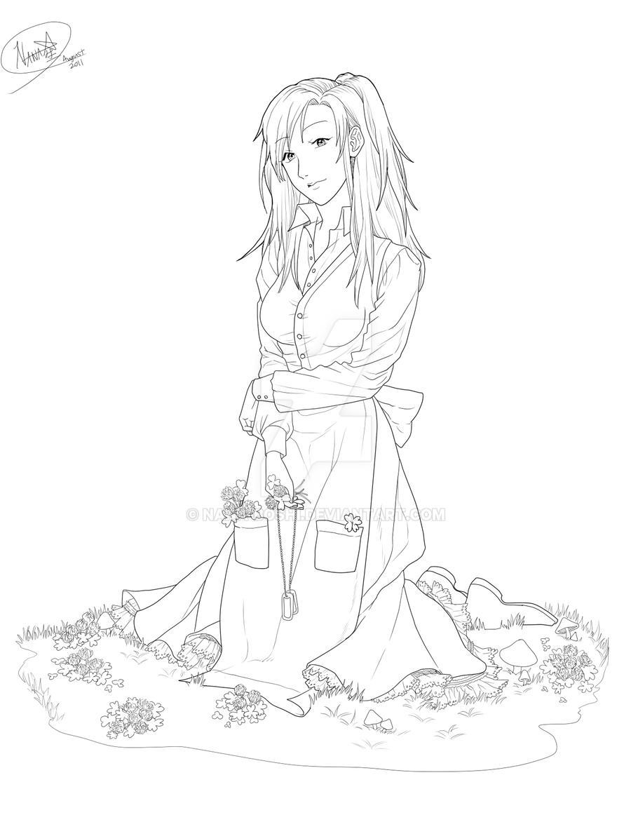 girl with clovers by nana boshi on deviantart H Shi Bo girl with clovers by nana boshi
