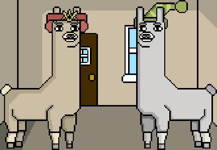 Llamas with Hats - Paul and Carl by Gawayno