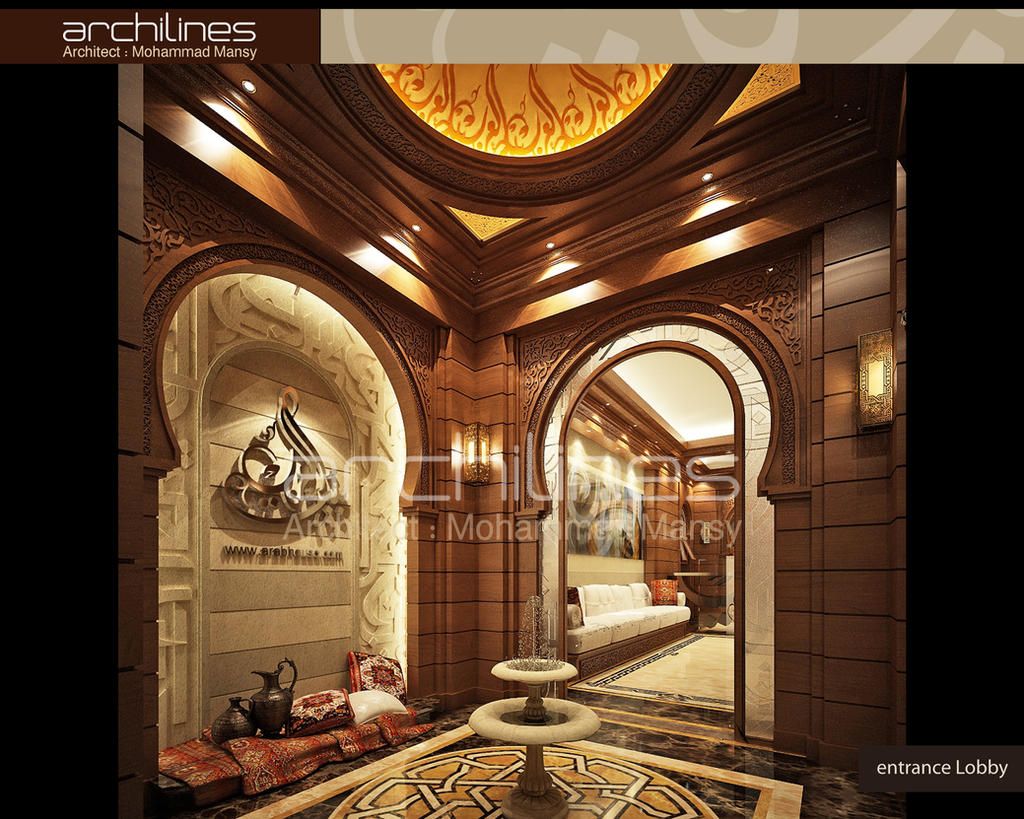 Arab house tours entrance lobby interior design by for Villa lobby interior design