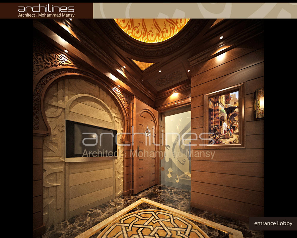 Arab house tours entrance lobby interior design by mohamedmansy on