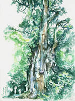 Jomon Sugi and kodama (Mononoke Hime insp) by proxi-mity
