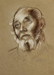 Study of an old mans head - reproduction