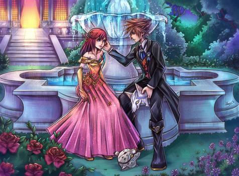 Sora and Kairi at a maskball