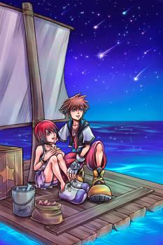 Sora and Kairi on the raft - Artbook