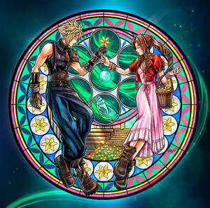 Cloud and Aerith Stained Glass