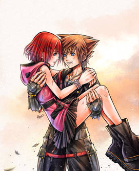 After the battle - Sora and Kairi