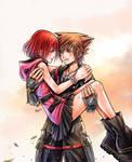 After the battle - Sora and Kairi by SorasPrincesss