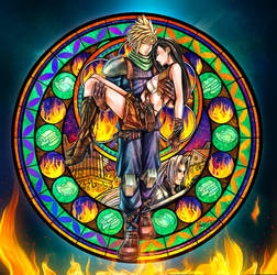 Cloud and Tifa Stained Glass - Fulfilled Promise