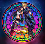 Cloud and Tifa Stained Glass Under The Highwind