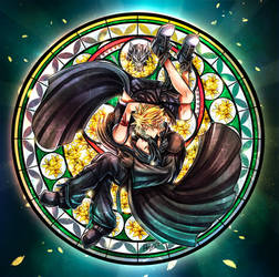 Cloud and Tifa Stained Glass Advent Children