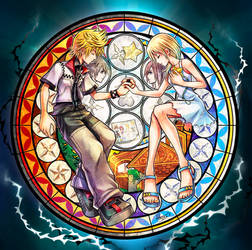 Roxas and Namine Stained Glass