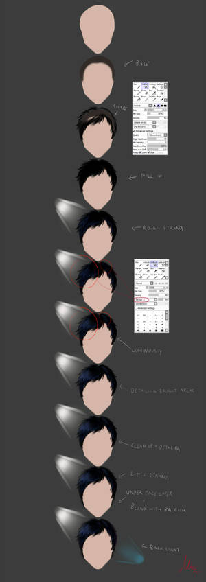 Dark hair tutorial with SAI