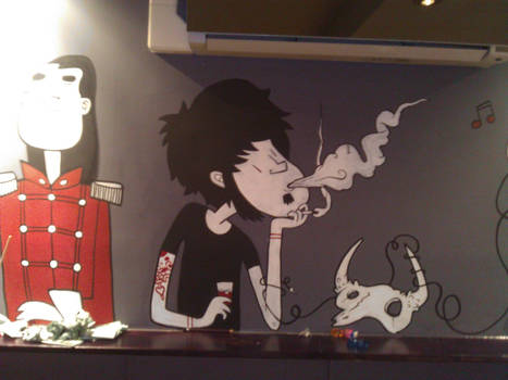 Full moon lounge mural - smoking chap
