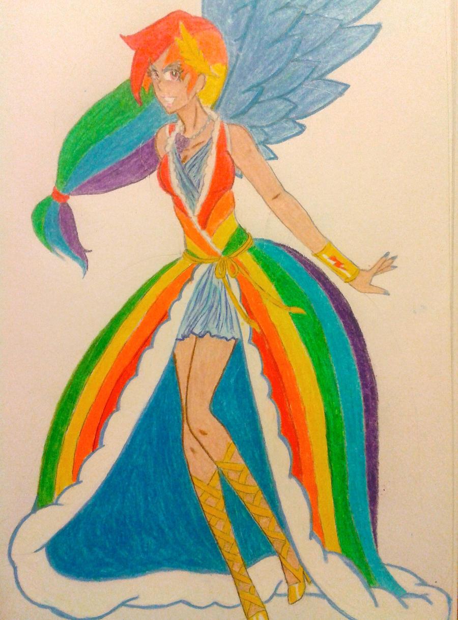 human rainbow dash olympian gala gown by gaea