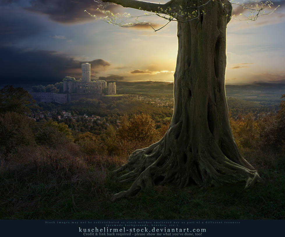 Premade bg - Tree and Castle by kuschelirmel-stock