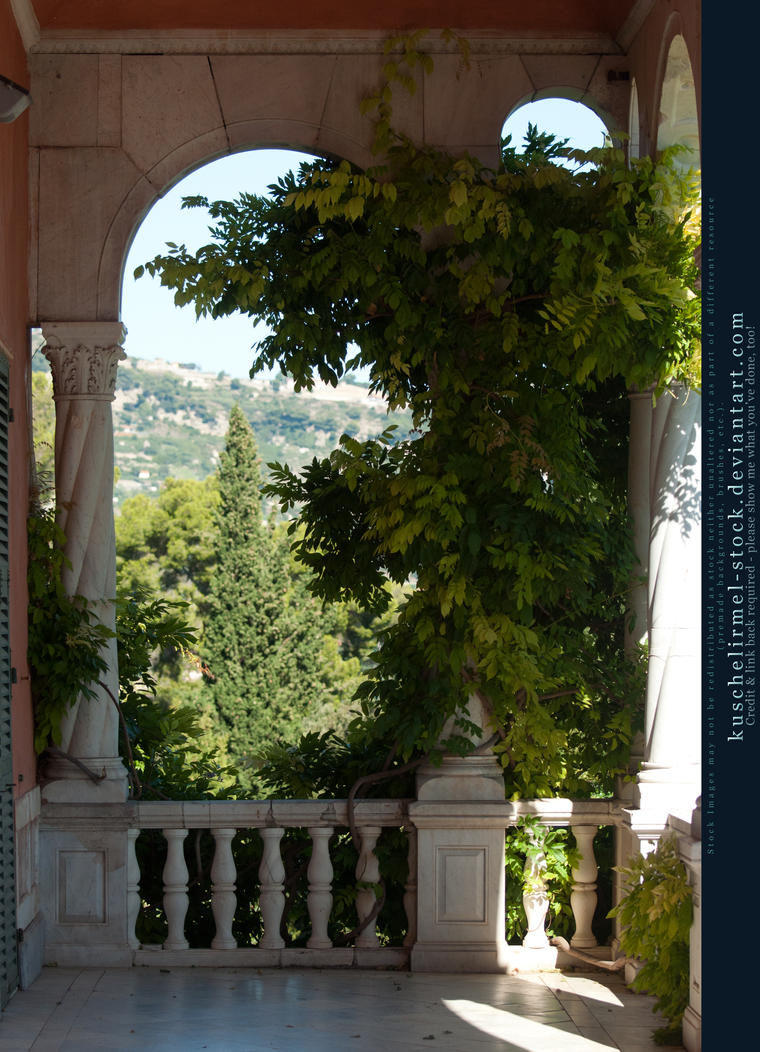 Marble Balcony with arch and plant I by kuschelirmel-stock