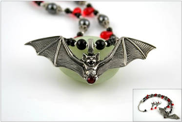 Fanged Bat and Blood Necklace by SpiralArtisan