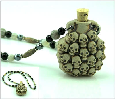 Skull Treasure Vial Necklace by SpiralArtisan