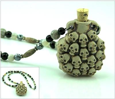 Skull Treasure Vial Necklace