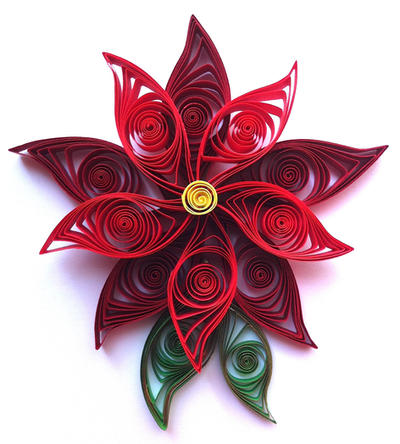 Quilled Poinsettia Flower Ornament by SpiralArtisan