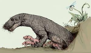 Gorgonopsid mother by lucassobotta