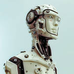 Futuristic robotic man