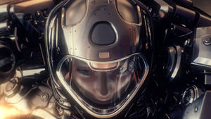 Woman astronaut in space suit