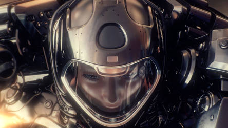 Woman astronaut in space suit by Ociacia