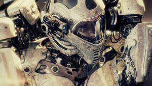 Space traveler in military space suit