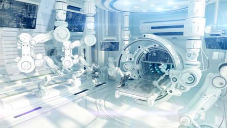 Futuristic research laboratory