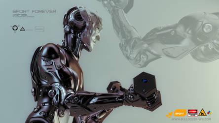 Strong robot lift dumbbells by Ociacia