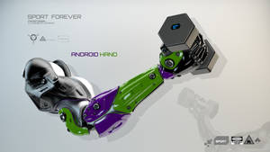 Bright robotic arm holds dumbbell with sensors