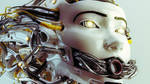 Stylish robotic girl with gap