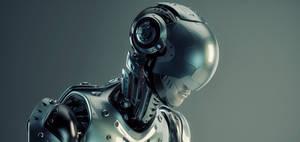 Robot in steel helmet