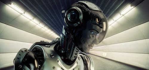 Futuristic robotic gitl on back