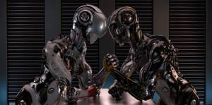 Robotic Man vs Woman arm wrestling