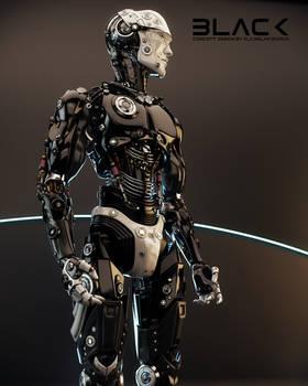 Robotic man in profile
