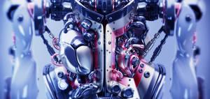 Artificial futuristic human organs. 3d model rende