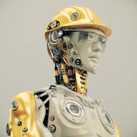 Engineer in yellow hardhat portrait by Ociacia