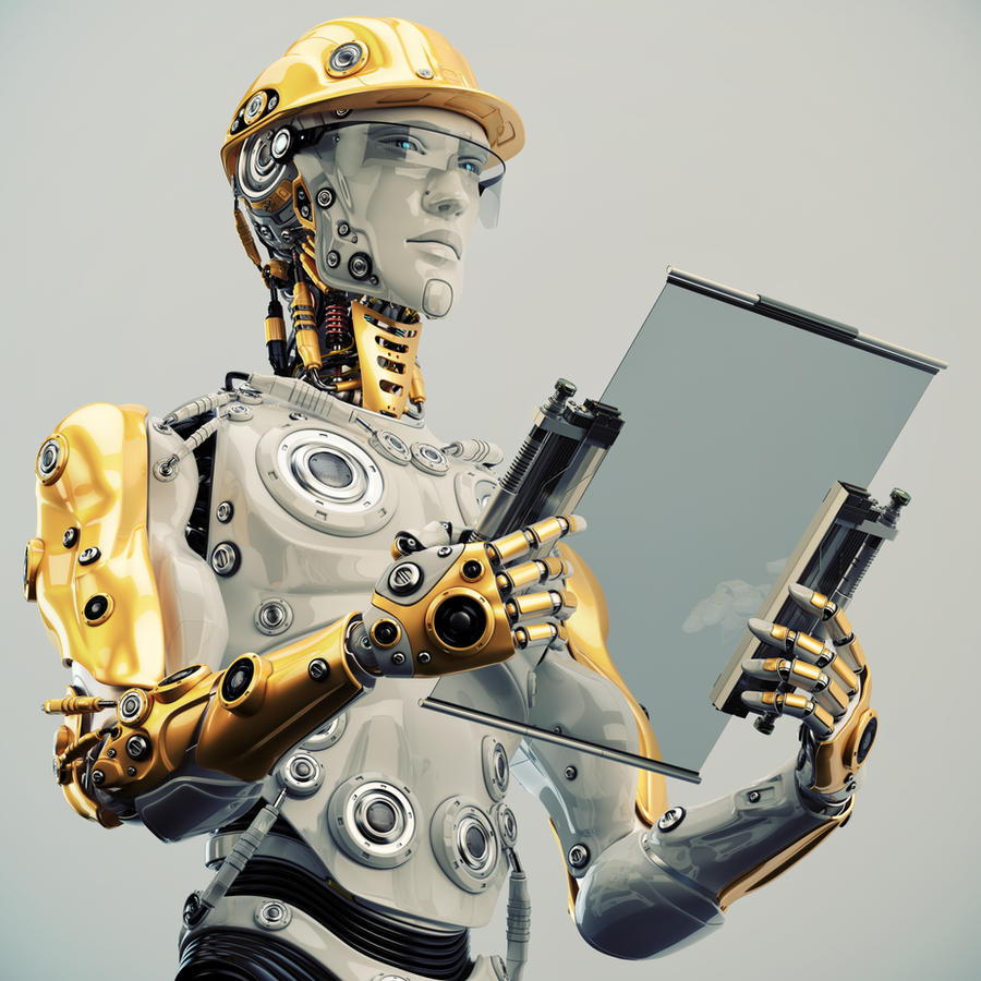 Futuristic Engineer in yellow hardhat holding tabl by Ociacia